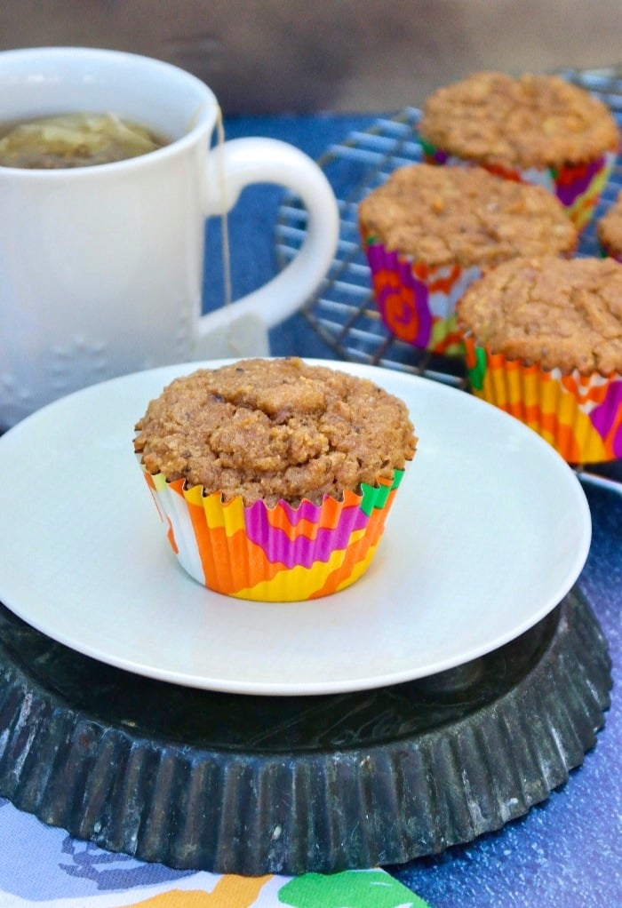healthy banana muffins on a plate with a cup of tea