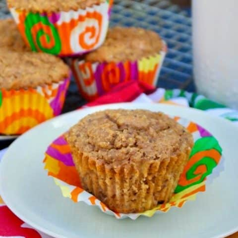 Low carb healthy banana muffins on a plate