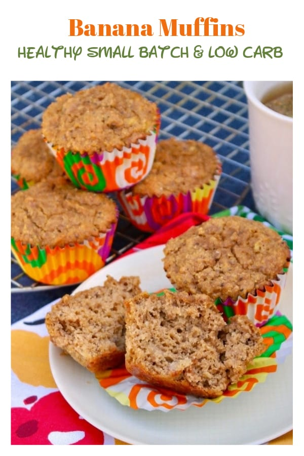 Small batch healthy banana muffins are low carb and gluten-free. Make these for YOU and enjoy one a day for a week! #muffins #banana #healthy #glutenfree #lowcarbdiet #Keto | www.thefoodieaffair.com