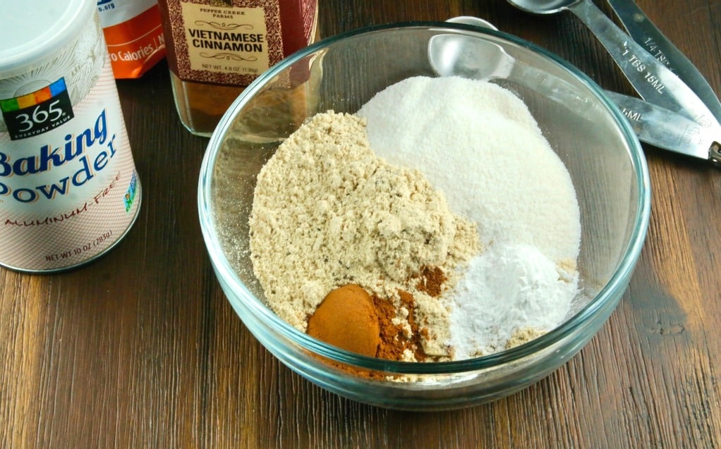 dry ingredients for healthy banana muffins