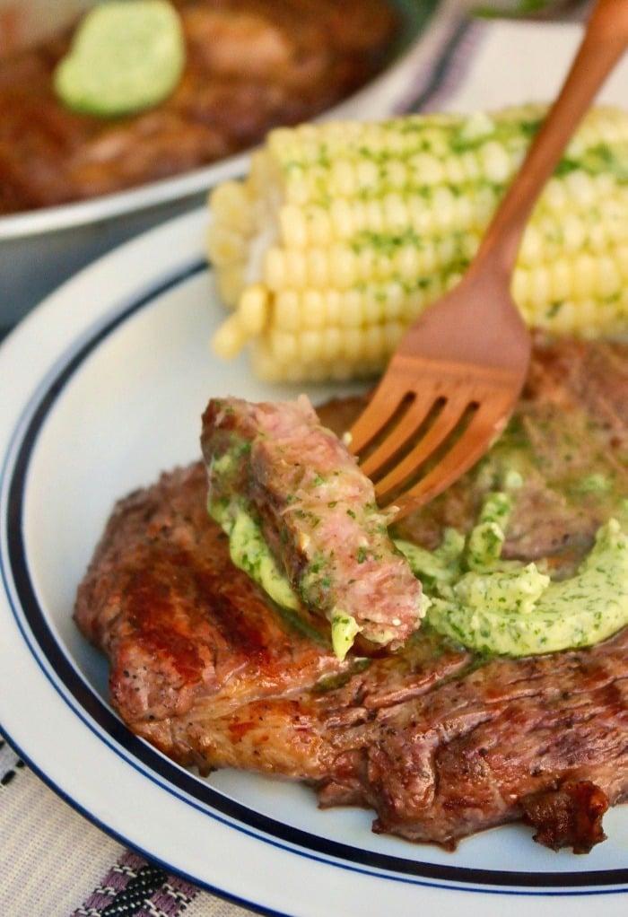 a slice of grilled rib eye steak