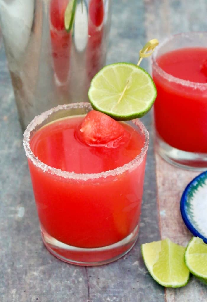 watermelon rita in a clear glass with lime