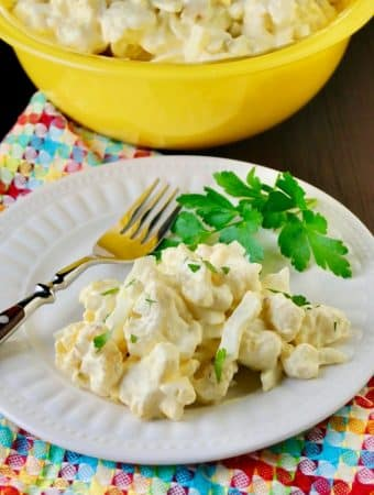 Mock low carb potato salad on a white plate