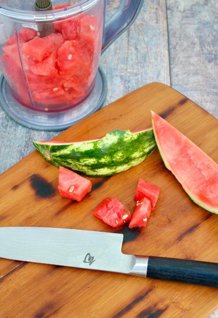 diced watermelon for watermelon rita cocktails