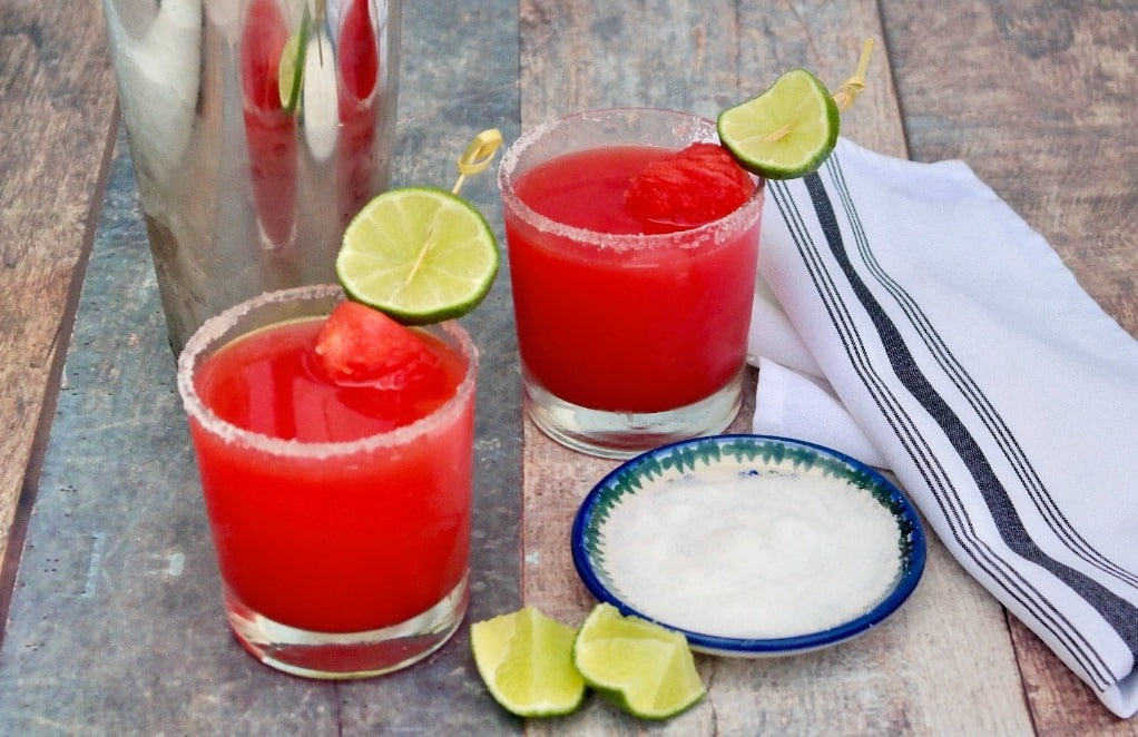 watermelon rita cocktails with salt and lime