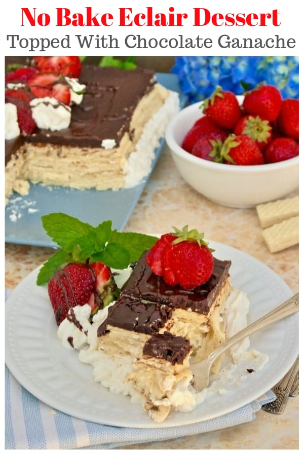 Grab a slice of this no bake eclair dessert! This cake is made with vanilla wafer cookies, homemade pastry cream and chocolate ganache! #Ad #nobake #cake #dessert #easyrecipe | www.thefoodieaffair.com