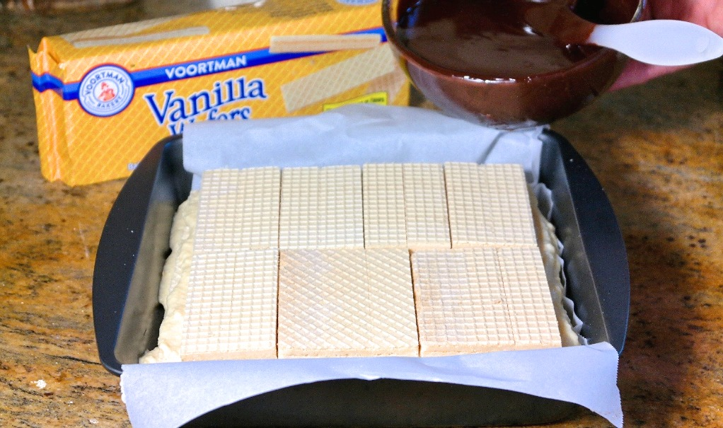 wafers for eclair dessert in a baking pan