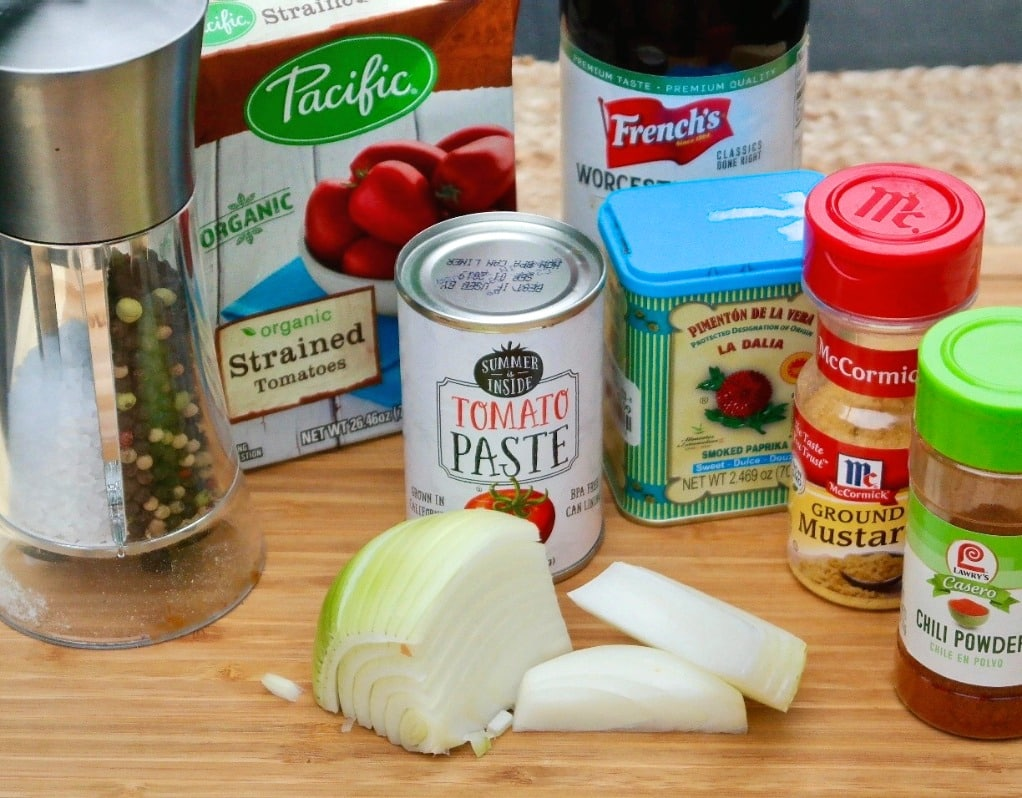 Ingredients for low carb bbq sauce