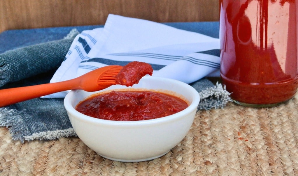 low carb bbq sauce in a white bowl with a orange basting brush