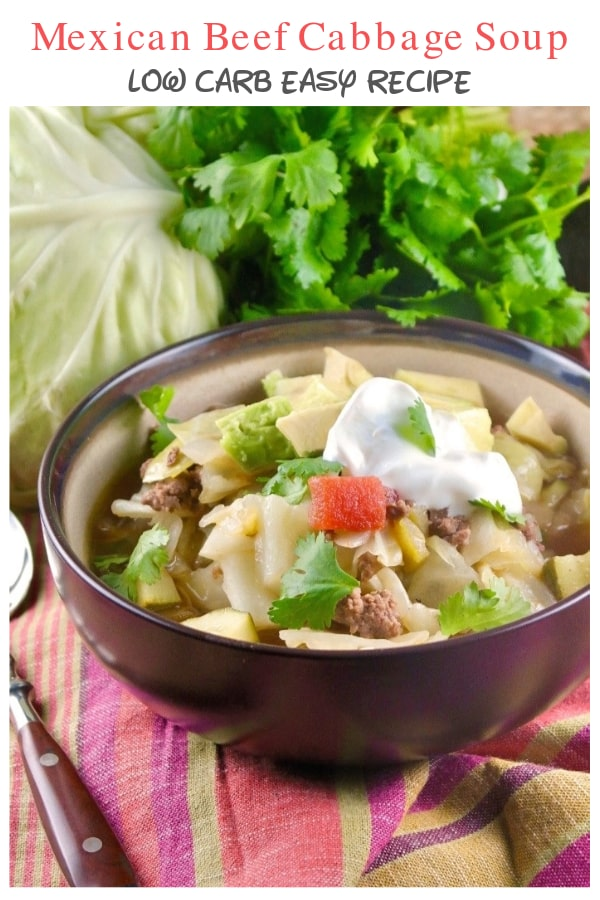 Simple stovetop beef cabbage soup with a Tex-Mex flair. This low carb meal can be topped with avocado, cotija cheese or crema to make it the ultimate keto meal! #soup# Cabbage #hamburger #lowcarb #ketodiet | www.thefoodieaffair.com