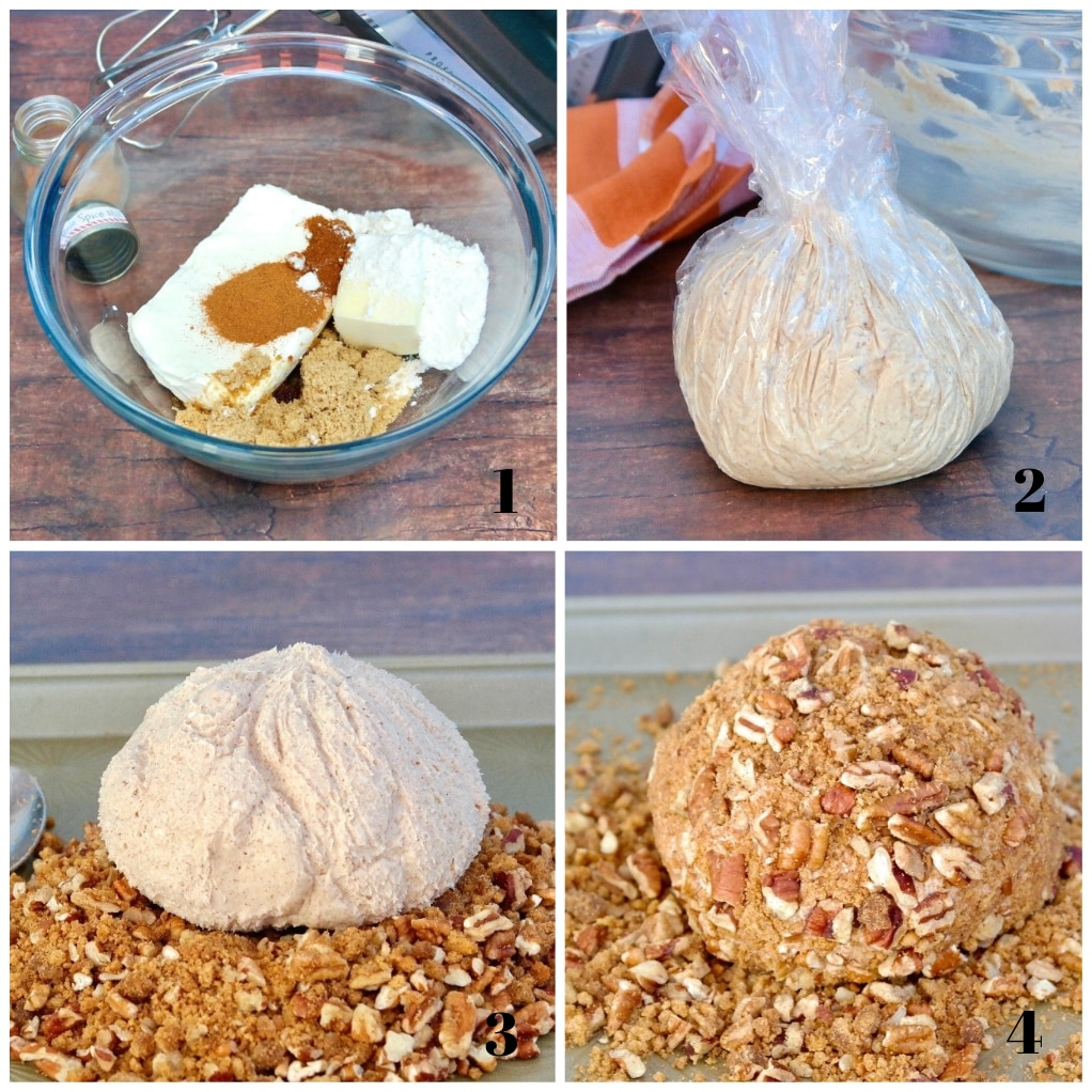 four photos of steps to make dessert cream cheese ball