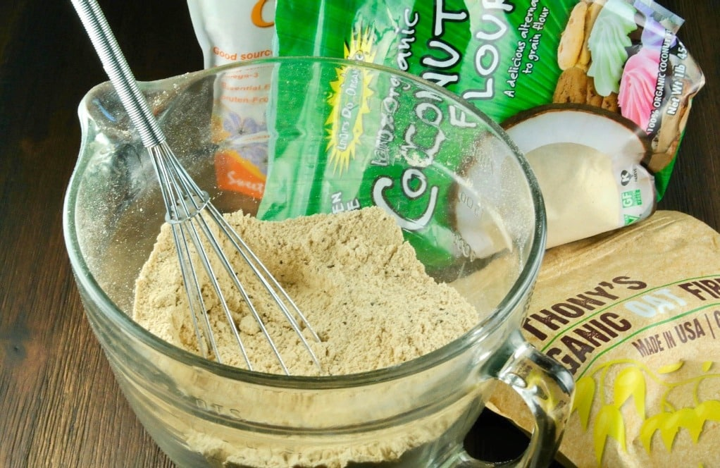 low carb baking mix ingredients in a mixing bowl