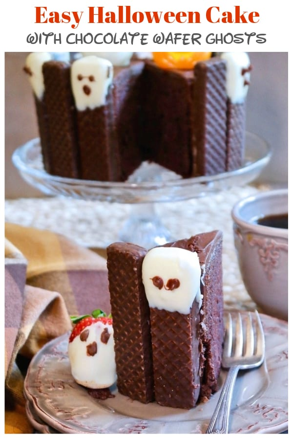 slice of halloween Cake on brown plate with cake in the background