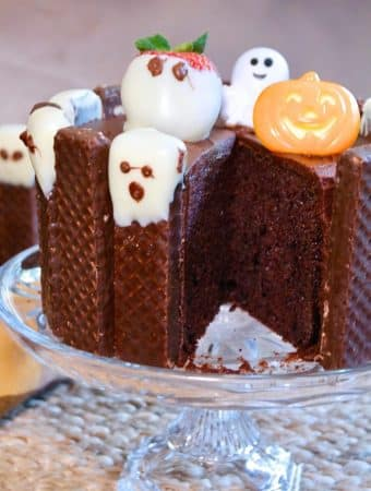 Chocolate halloween cake on a crystal cake stand