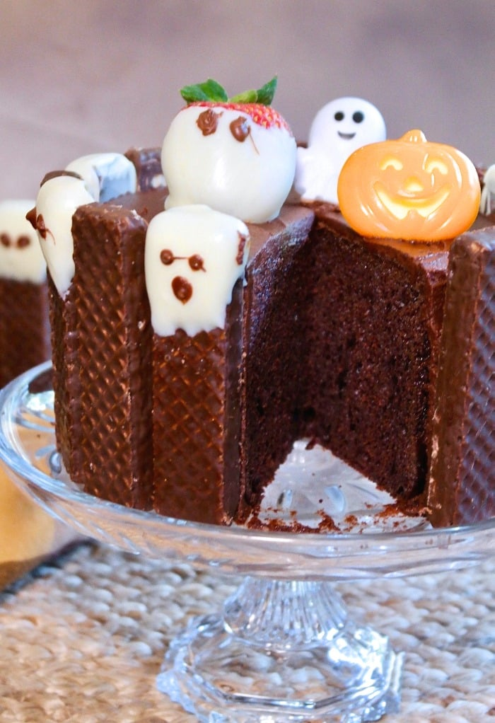 Chocolate halloween cake on a crystal cake stand