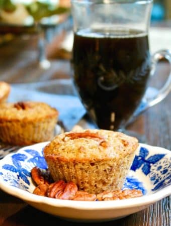 low carb pecan muffins on a blue and white plate
