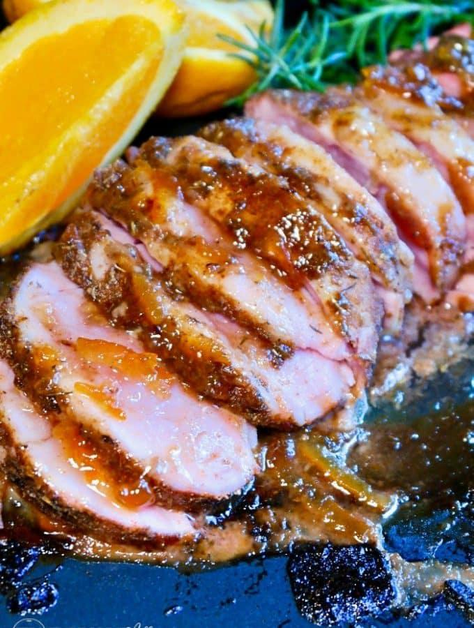 Baked pork tenderloin with orange marmalade glaze