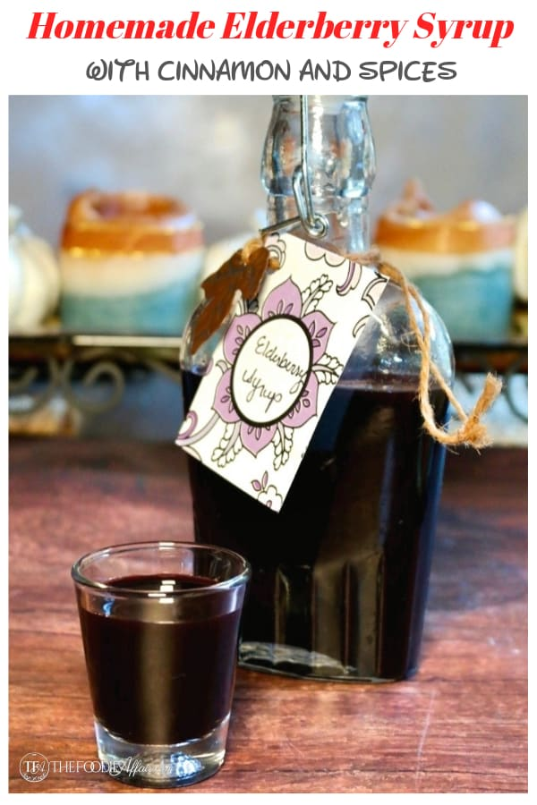 This homemade elderberry syrup recipe is easy to make, giving you an all-natural way to boost your immune system to help the body fight cold and flu symptoms. #diy #elderberry #flu #homemade #syrup #healthy #recipe