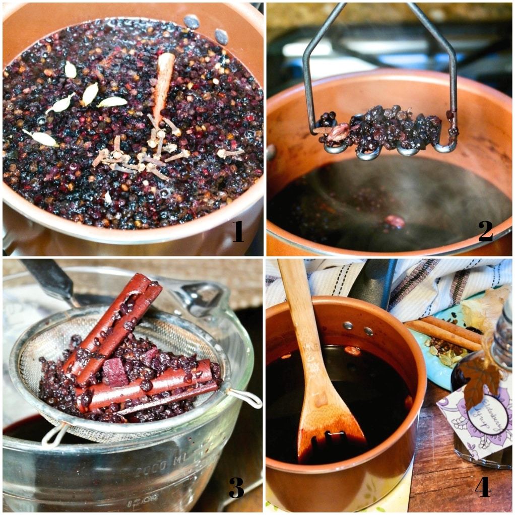Step by step photos on how to make your own elderberry syrup.