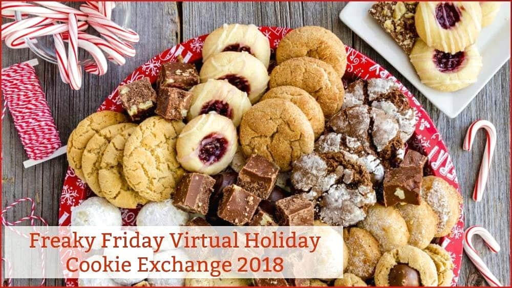 Platter of holiday cookies for Freaky Friday virtual holiday cookie exchange