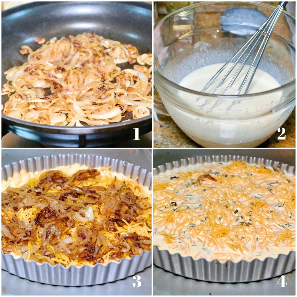 Four photos of step by step instructions on how to make a cheese and onion quiche.