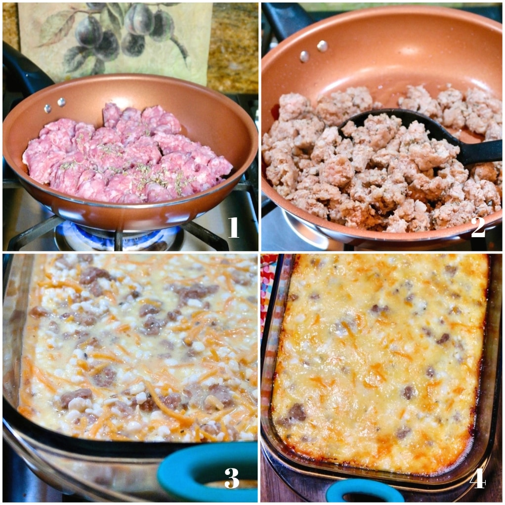 Four steps to make egg sausage casserole recipe