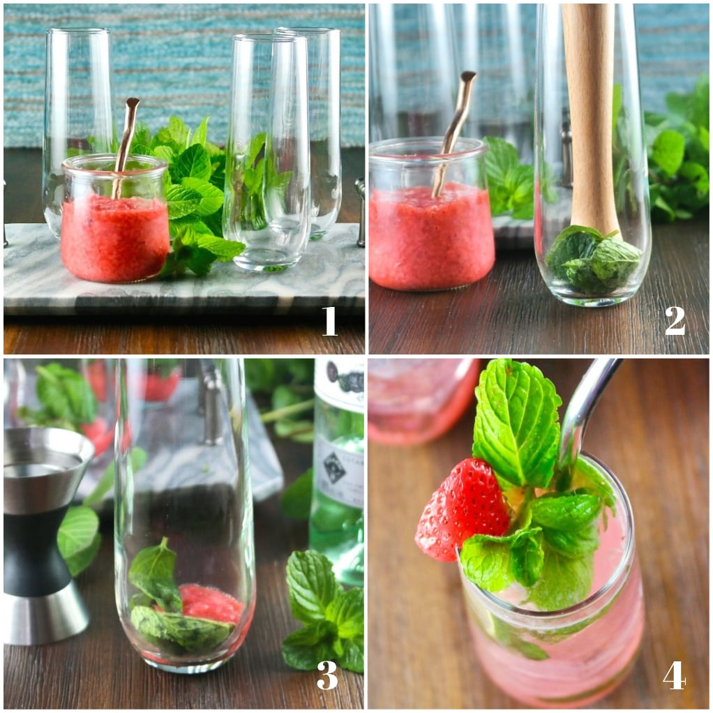 Steps on how to make a strawberry mojito