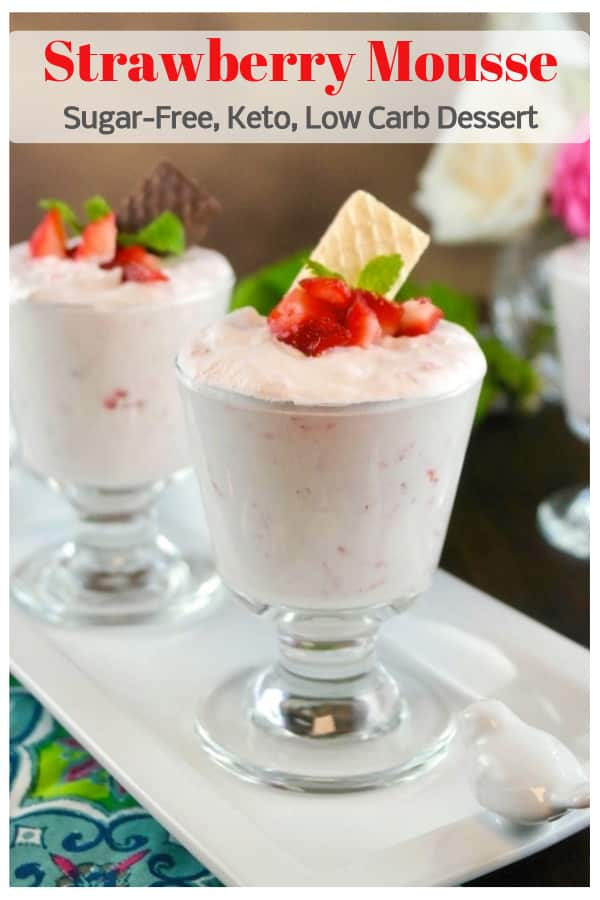 Easy strawberry mousse recipe made with fresh whipped cream, sweetener, and sugar-free strawberry puree. Top this light and airy dessert with fresh fruit or a Voortman Bakery Cookie! Ad #sugarfree #keto #strawberry #mousse #dessert #sweets #easy #recipe #thefoodieaffair