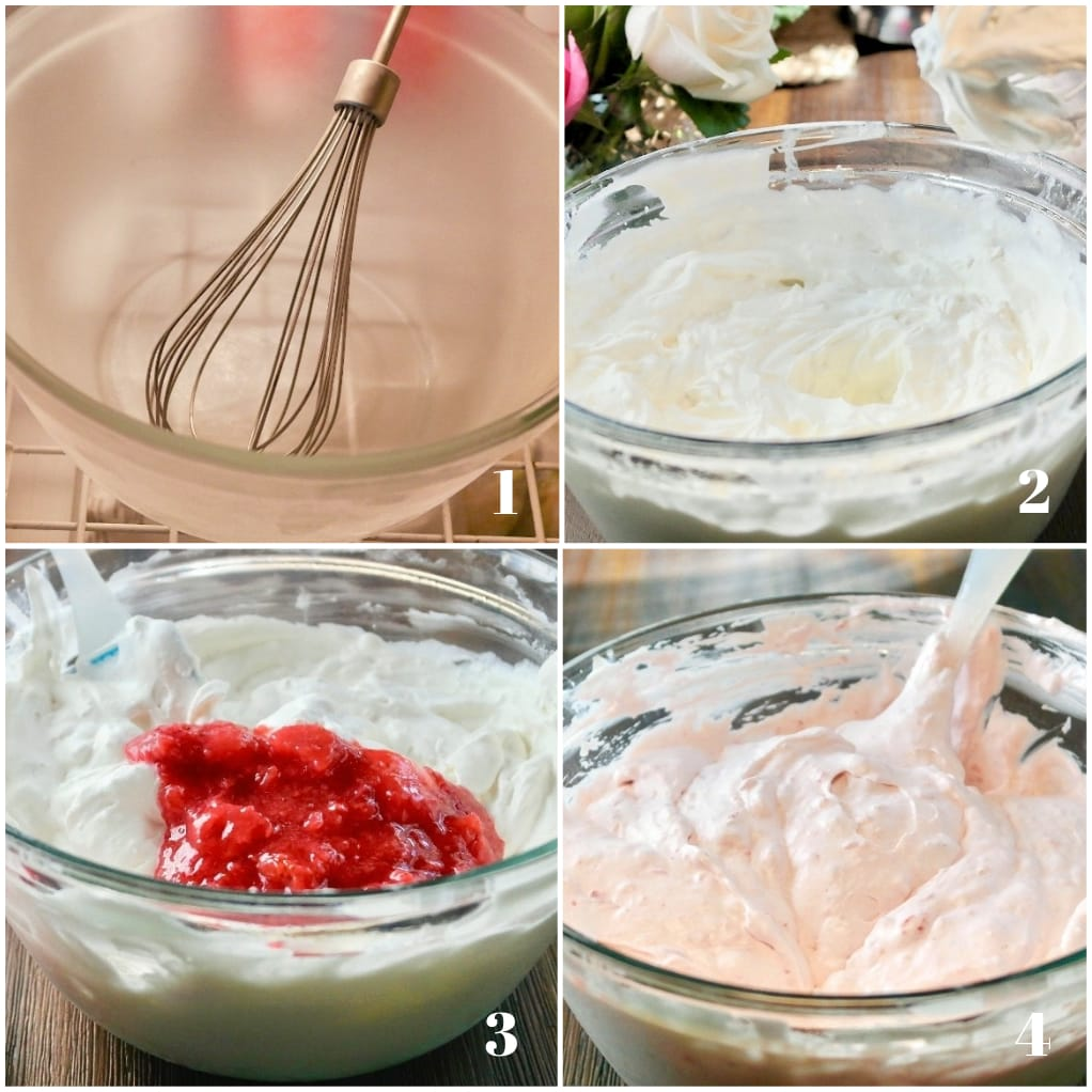 Step by step images on how to make strawberry mousse