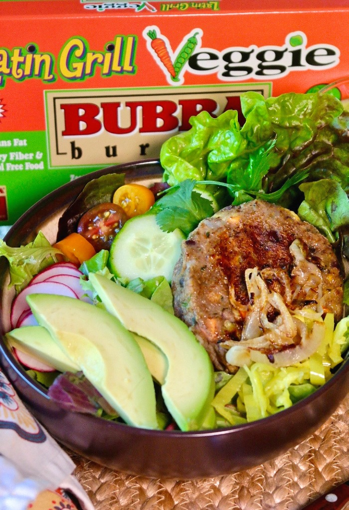 Bubba veggie burger in a brown bowl with salad