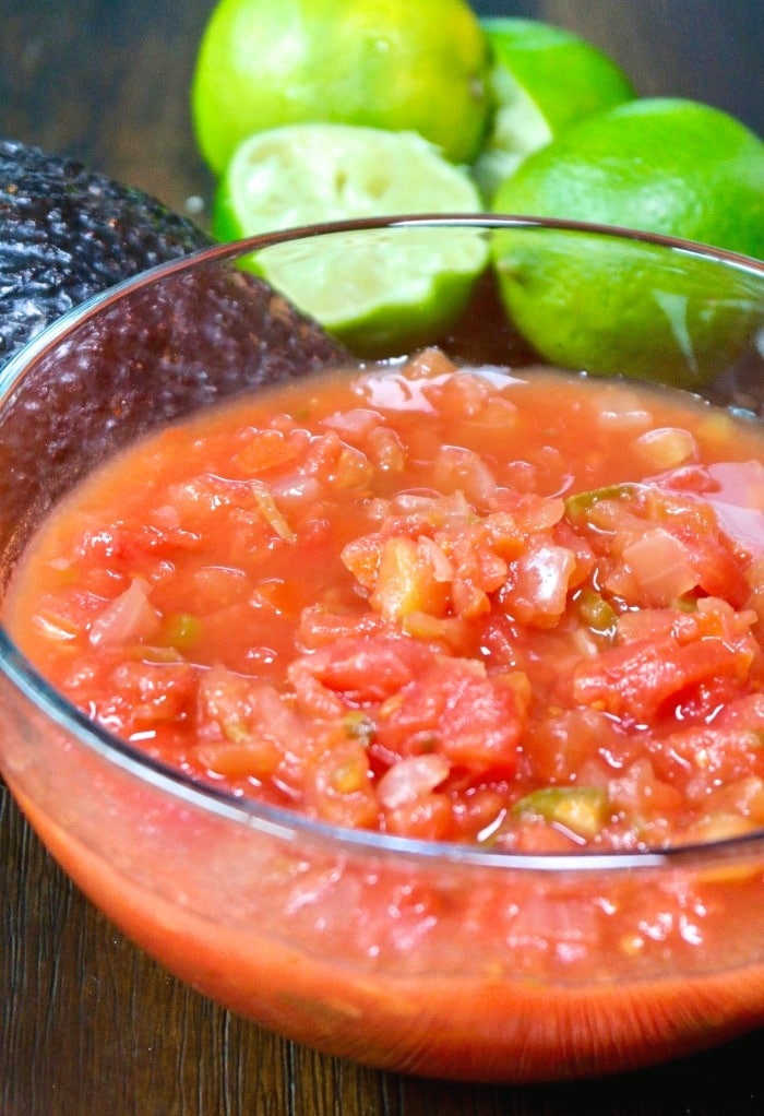 chunky salsa in a clear bowl