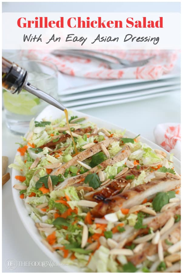 Simple grilled chicken salad with a homemade asian dressing. This recipe is a nice summer meal main dish or enjoy as a side. #grill #poultry #chicken #salad #Asian #thefoodieaffair