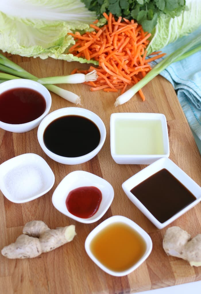 Ingredients to make an Asian Dressing for Salad.