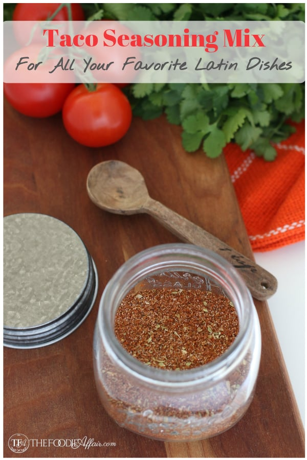 This is a perfect Homemade Taco Seasoning Mix Recipe you can make with spices you already have in your pantry! You'll never buy a pre-packaged taco mix again. #DIY #spice #taco #seasoning #Mexican #thefoodieaffair