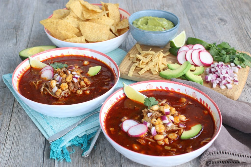 Two bowls of a Instant Pot Pozole Soup recipe.