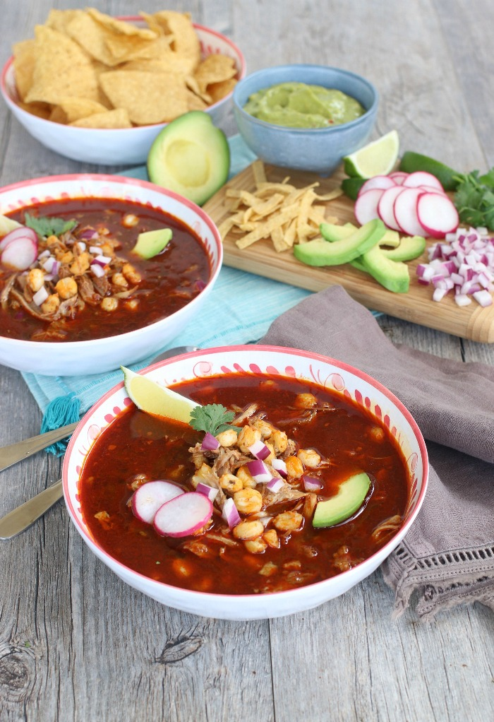 Spicy and flavorful Instant Pot Pozole Soup.