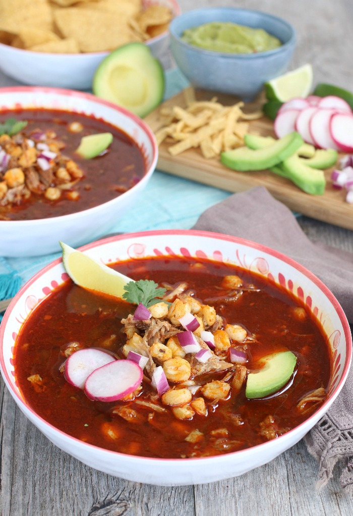 Delicious Mexican soup with hominy Pozole Soup.