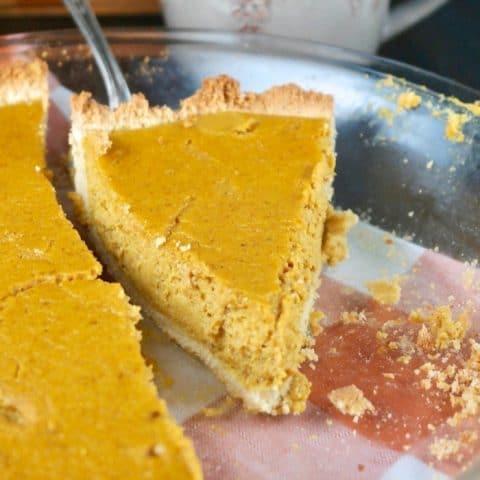 a slice of sugar free pumpkin pie