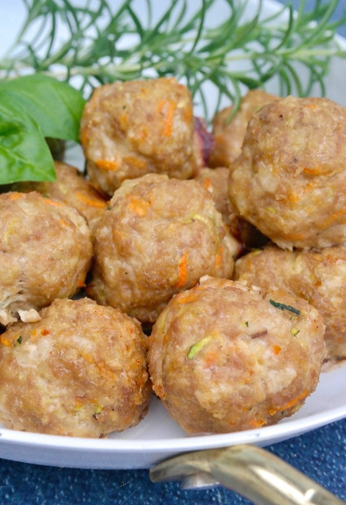 Homemade healthy turkey meatballs with carrots and zucchini.