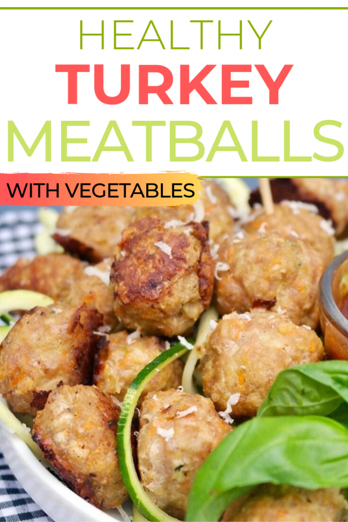 Healthy turkey meatballs made with shredded zucchini and carrots.  This turkey meatball recipe is simple to make and can be served over pasta, zoodles or enjoy as an appetizer with your favorite sauce. #meatballs #turkey #healthy #appetizer #maindish #thefoodieaffair