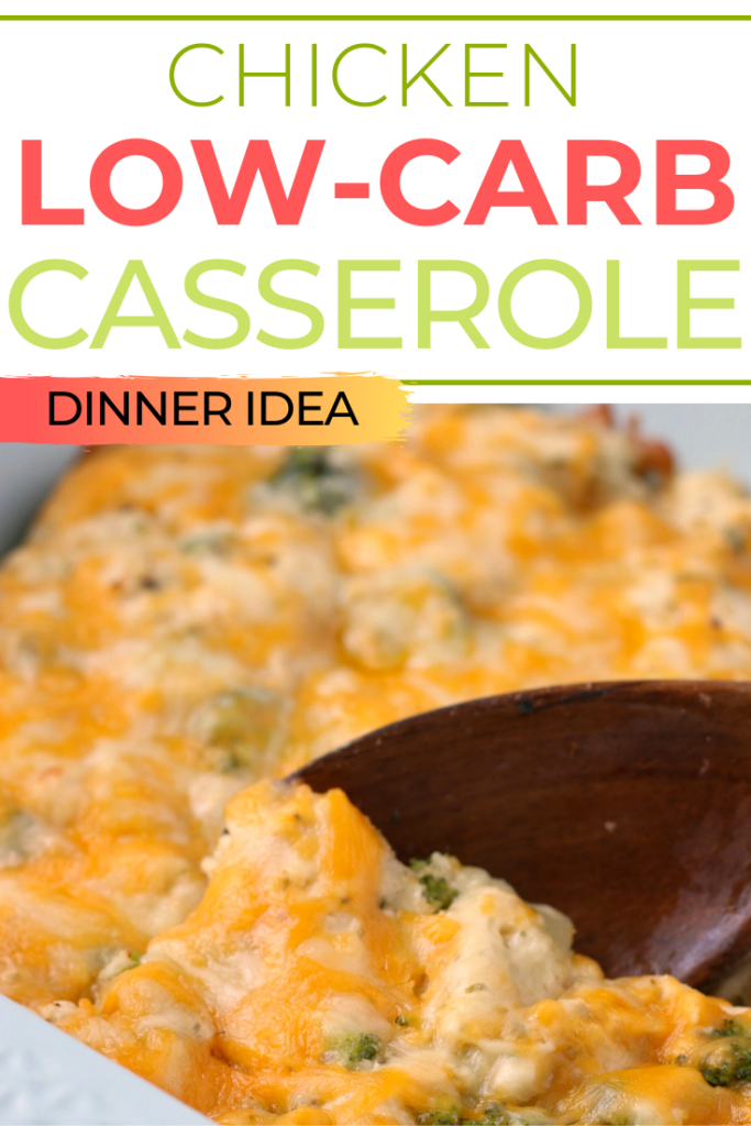Comfort food at its finest is found in this delicious low carb chicken casserole recipe! This is definitely a throwback to classic potluck casseroles with chicken, broccoli, and tons of gooey cheese. #lowcarbrecie #keto #chicken #casserole #dinneridea
