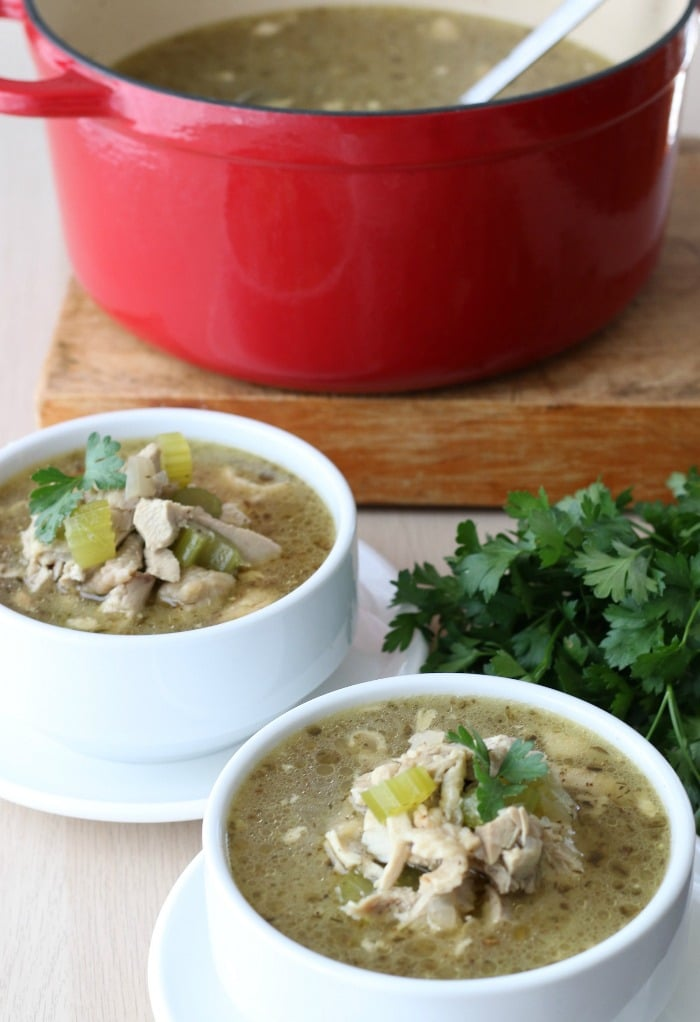 Bowls of low carb chicken soup served up and ready to be enjoyed.