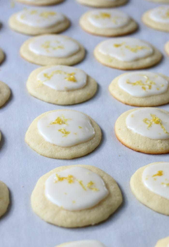 All of the delicious lemon ricotta cookies are lined up, iced, and ready to be eaten.