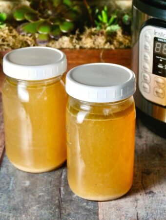 Homemade bone broth made in an Instant Pot