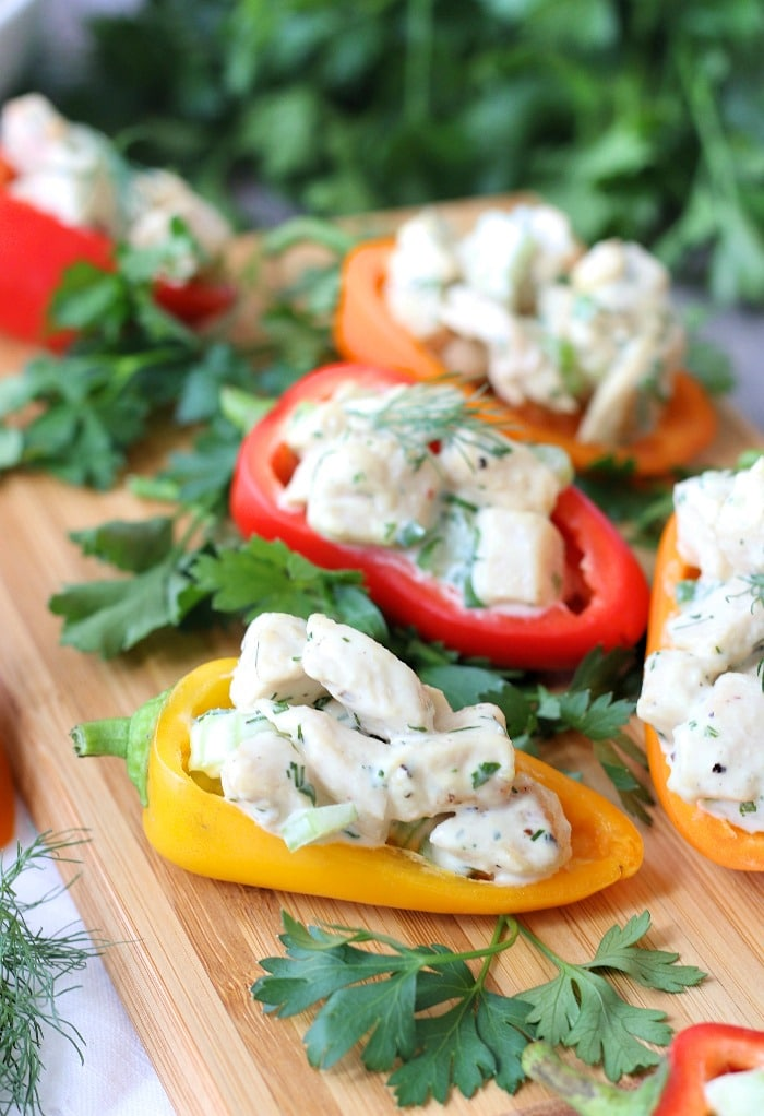 Peppers stuffed with chicken salad