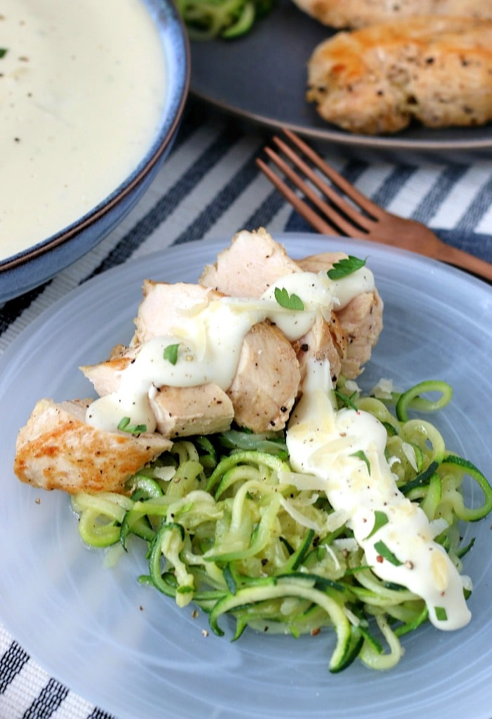 Keto alfredo sauce goes great with traditional noodles or with zoodles for a completely keto friendly meal.