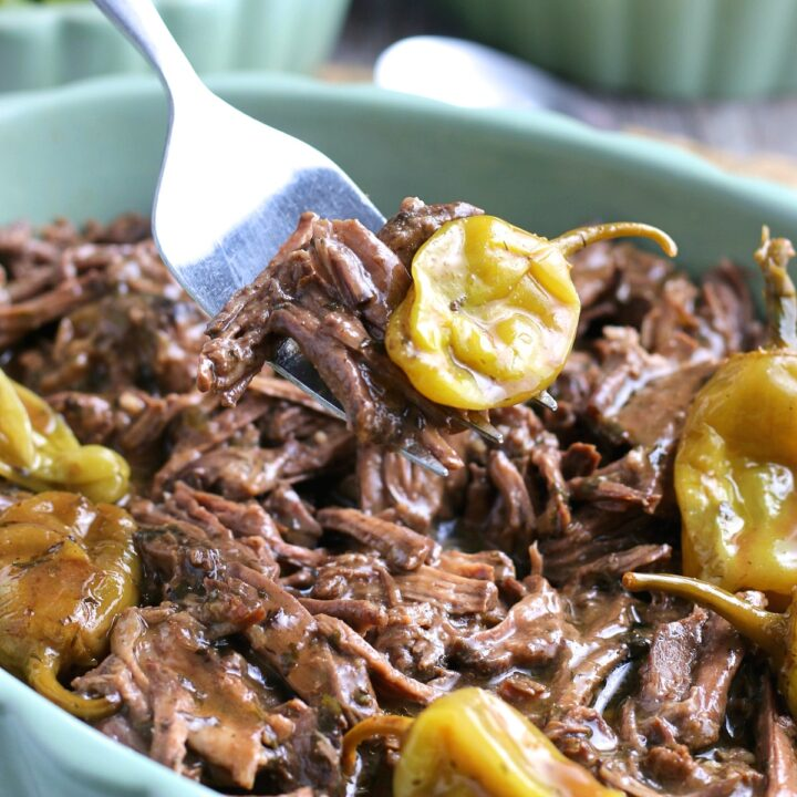 The Finished Mississippi roast in Crockpot comes out tender and easy to pull apart.