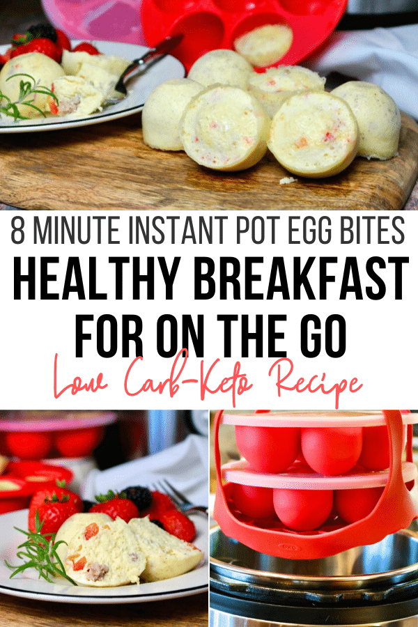 Instant Pot egg bites are delicious protein packed breakfast or snack for on the go! This economical version of egg bites is often found at Starbucks. #eggbites #breakfast #instantpot #healthy