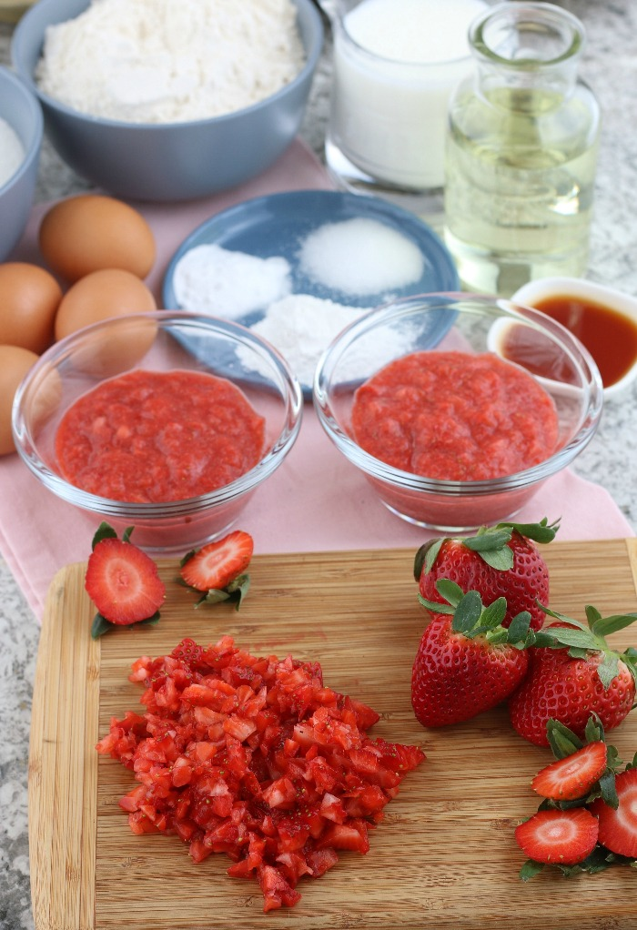 Fresh strawberries chopped for strawberry frosting