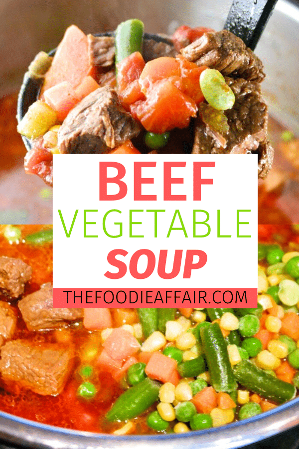 Hearty beef and vegetable soup with a combination of fresh and frozen vegetables. This Instant Pot recipe is sure to be on your regular meal rotation! #InstantPot #soup #stew #recipe